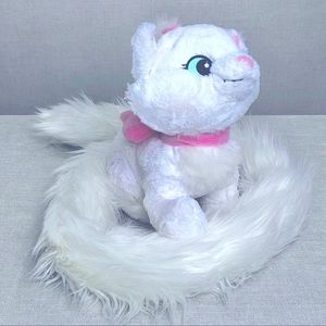 DISNEY Marie Cat Long Tail White and Pink Plush Authentic Disney Parks Merch